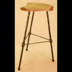 3 LEGGED BAR STOOL WITH TEARDROP CHERRY SEAT