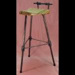 3 LEGGED BAR STOOL WITH SHORT BACK AND CORAL TEXTURE