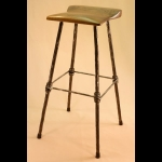 4 LEGGED BAR STOOL WITH WALNUT SEAT