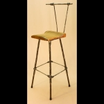 "4 LEGGED SWIVEL BAR STOOL WITH BACK AND 12"" BACK"