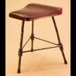 3 LEGGED CHAIR HEIGHT STOOL WITH WOOD SEAT
