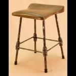 4 LEGGED CHAIR HEIGHT STOOL WITH WALNUT SEAT